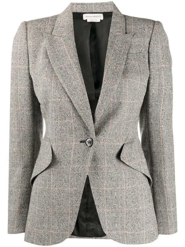 Alexander Mcqueen Women's Distressed Prince Of Wales Check Jacket In Grey