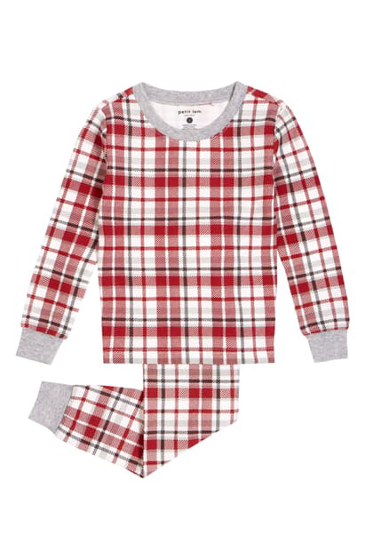 Petit Lem Babies' Plaid Fitted Two-piece Pajamas In Red
