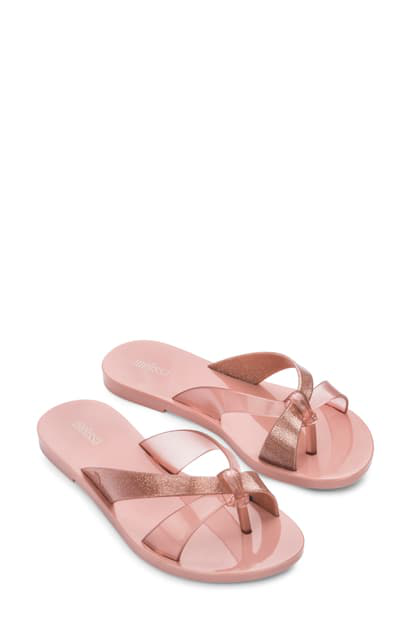 Melissa Must Ad Flip Flop In Pink Glitter Rubber
