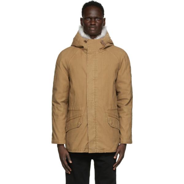 Yves Salomon Brown Down & Fur Jacket In B2358 Musca