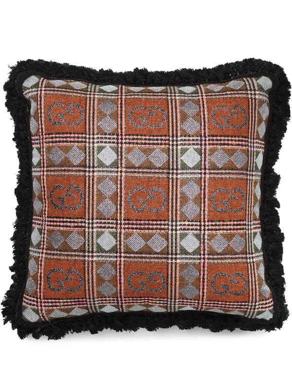 Gucci Gg-print Tweed Cushion In Orange