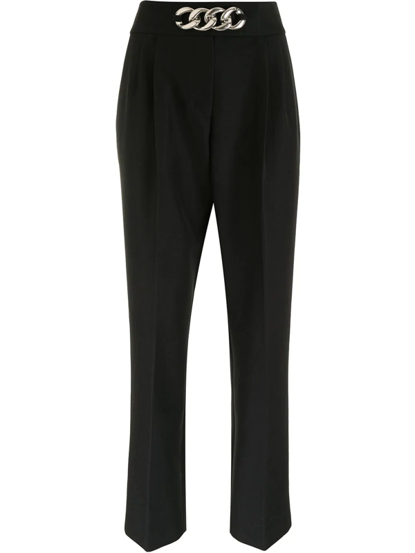 Alexander Wang Chain-embellished Pleated Wool-blend Twill Straight-leg Pants In Black