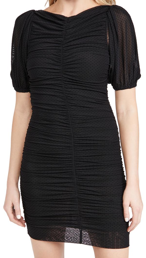 Ganni Puff Sleeve Dotted Mesh Mini Dress In Black