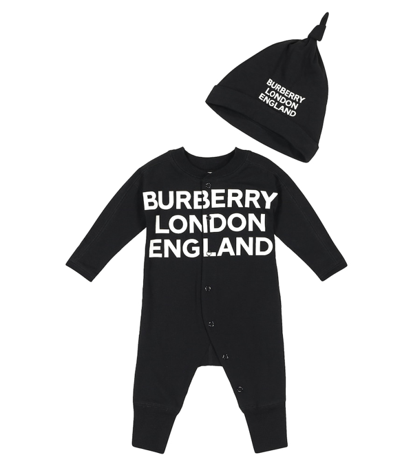 Burberry Baby Stretch-cotton Onesie And Hat Set In Black