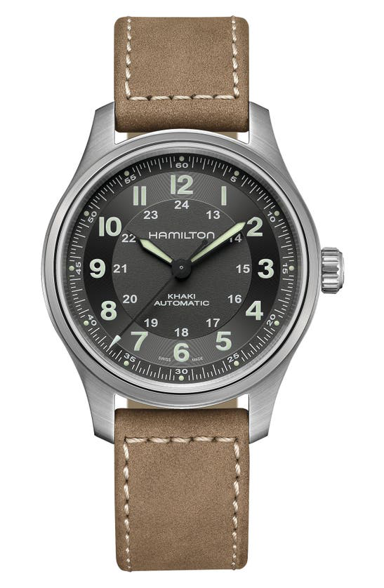 Hamilton Khaki Field Titanium Automatic Leather Strap Watch, 42mm In Brown/silver