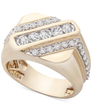 Macy's Men's Diamond Diagonal Ring (1 Ct. T.w.) In 10k Gold
