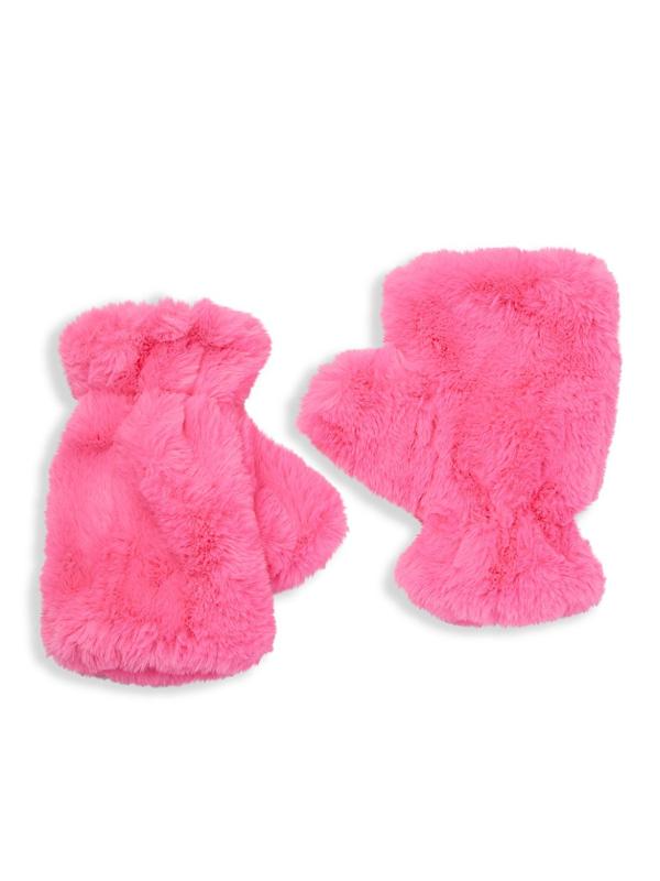 Apparis Women's Ariel Faux Fur Fingerless Gloves In Pink