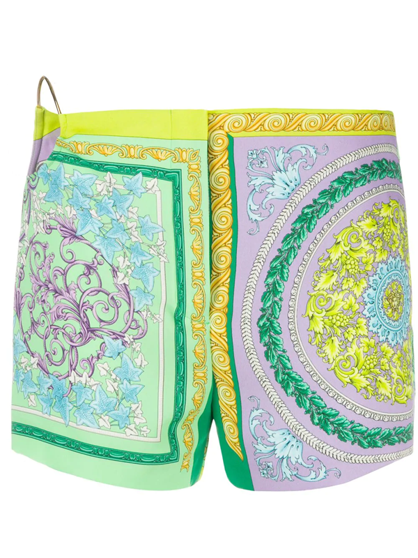 Versace All-over Print Multicolor Shorts In Purple