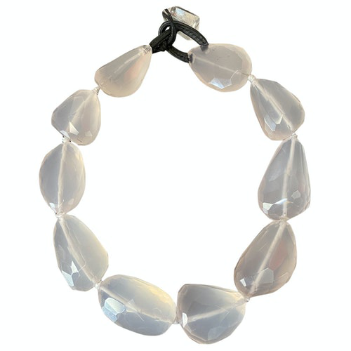 Pre-owned Monies White Crystal Necklace