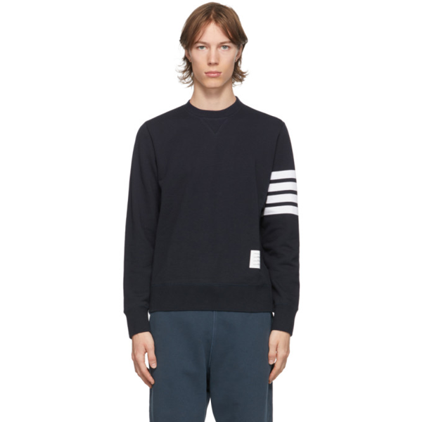 Thom Browne Navy Cotton Loopback 4-bar Sweatshirt