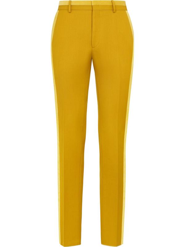 Fendi Tailored Two-tone Trousers In Yellow