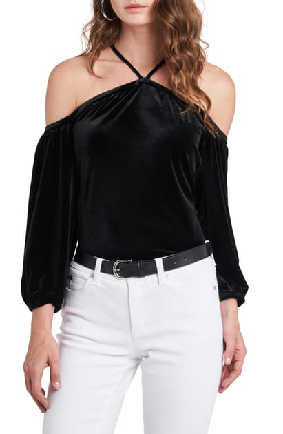 1.state High Neck Off The Shoulder Top In Rich Black