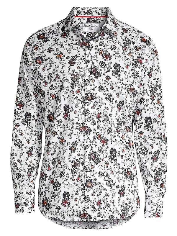 Robert Graham Men's Grey Gardens Classic-fit Floral-print Shirt In White