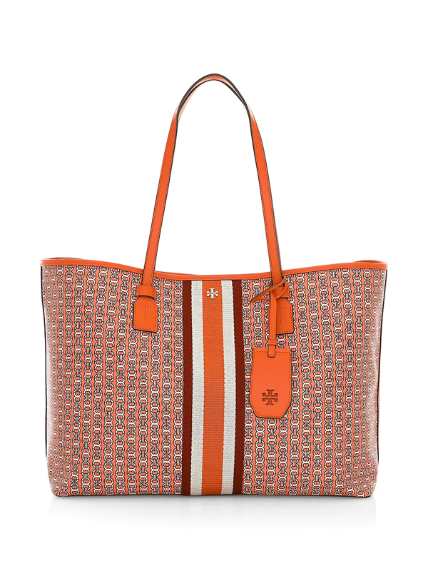 Tory Burch Women's Gemini Link Canvas Tote In Orange