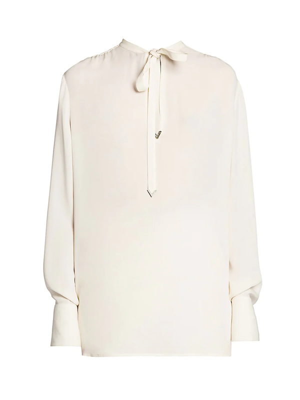 Valentino Women's Silk Georgette Tieneck Blouse In Avorio