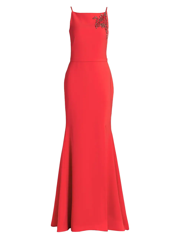 Theia Women's Crepe Embroidered Gown In Tomato