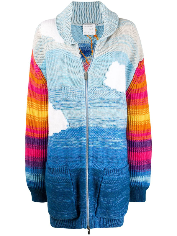 Stella Mccartney Smile Intarsia Wool-blend Cardigan In Blue