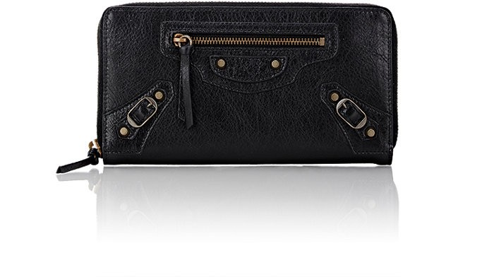 Balenciaga Arena Leather Classic Continental Wallet In Black