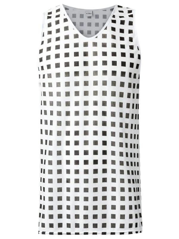 Amir Slama Checker Print Tank Top In White