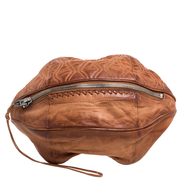 Pre-owned Alexander Wang Brown Leather Brady Football Clutch