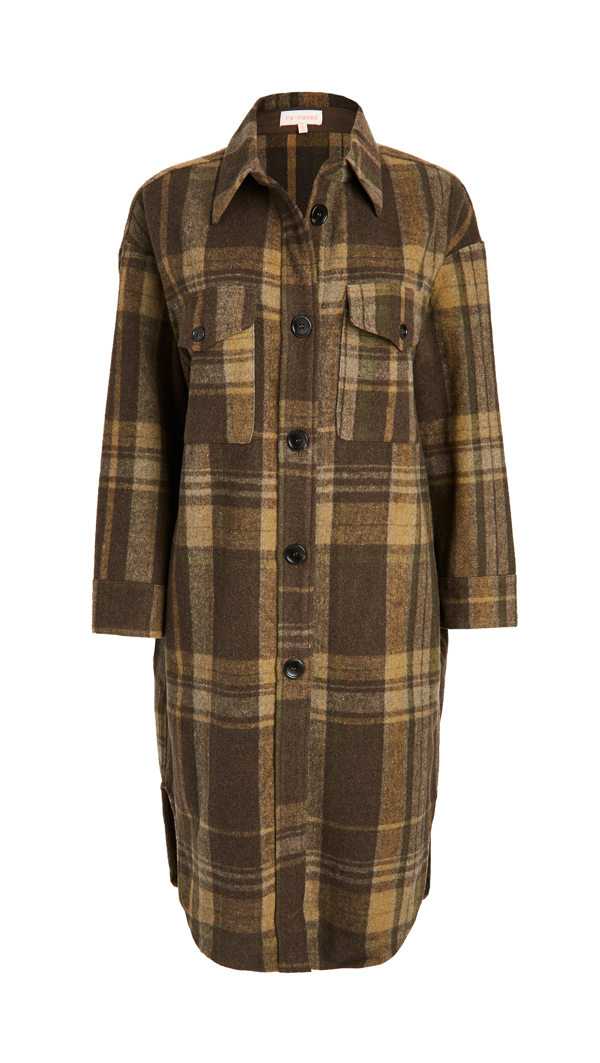 Re:named Re: Named Plaid Long Jacket In Olive Multi
