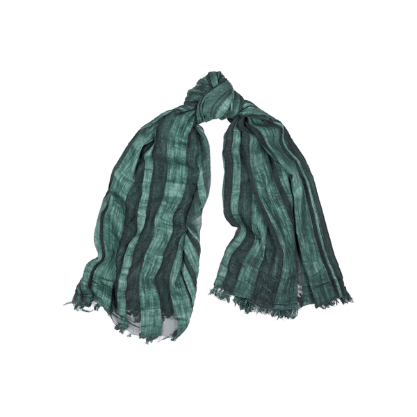 Eileen Fisher Green Striped Cotton-blend Scarf In Navy