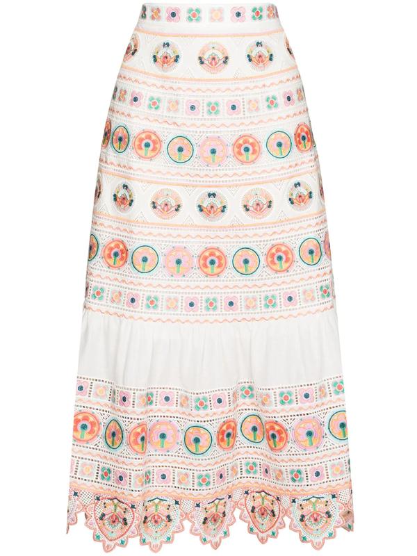 Zimmermann Brighton Floral-embroidered Cotton Midi Skirt In White