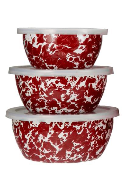 Golden Rabbit Enamelware Set Of 3 Nesting Bowls In Red Swirl