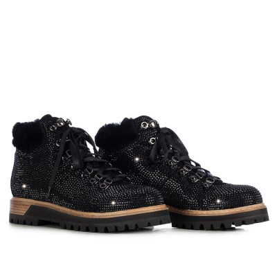 Le Silla Trekking Boot In Powder, Black Suede Calfleather And Crystals