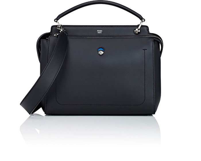 Fendi Dot.com Satchel In Black+ Royal Blue+