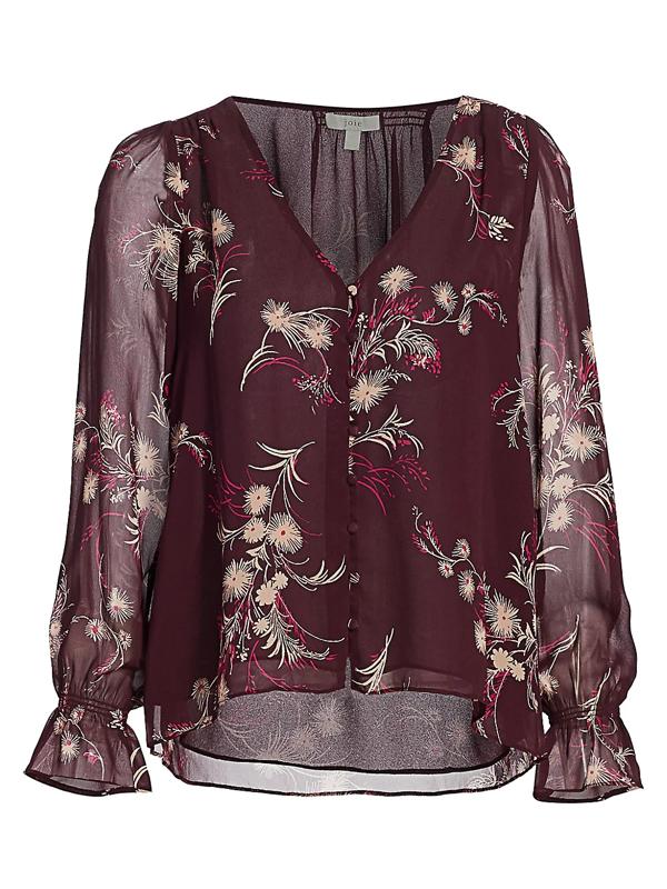 Joie Women's Lindie Floral Silk Blouse In Plum