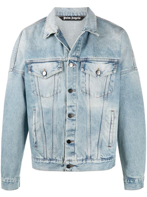 Palm Angels Logo Over Button-up Denim Jacket In Blue