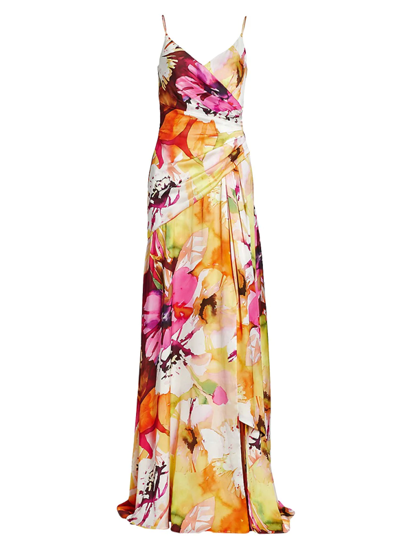 Theia Women's Floral Faux-wrap Gown In Fuchsia Multi