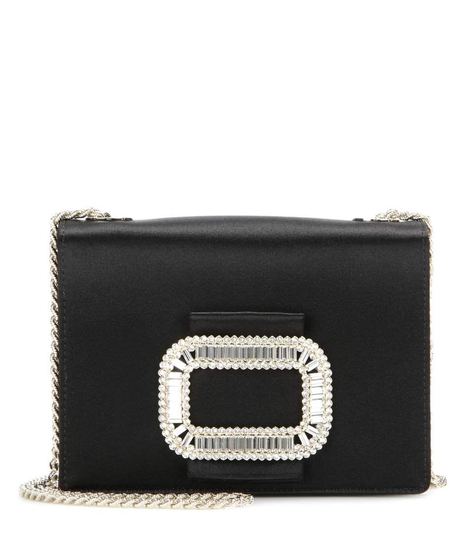 aac89b5991 Roger Vivier Evening Micro Crystal Buckle Satin Chain Shoulder Bag In Black