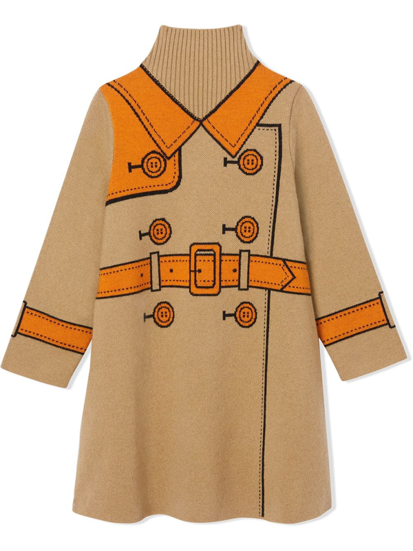 Burberry Kids' Trompe L'oeil Sweater Dress In Brown
