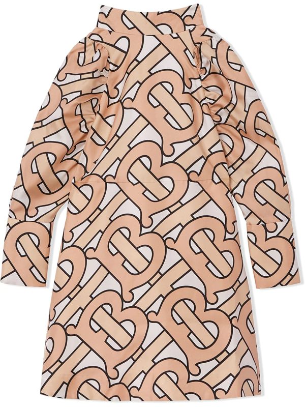 Burberry Kids' Monogram-print Puff-sleeve Dress In Pink