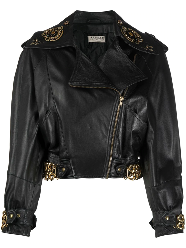 Pre-owned A.n.g.e.l.o. Vintage Cult 1980s Chain Detailing Leather Biker Jacket In Black