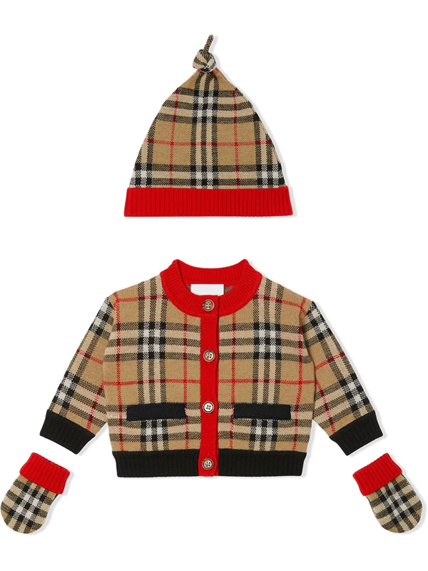 Burberry Kids' Three-piece Check Gift Set In Brown