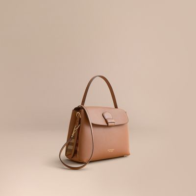 6921f32575e0 Burberry Medium Grainy Leather And House Check Tote Bag In Dark Sand ...