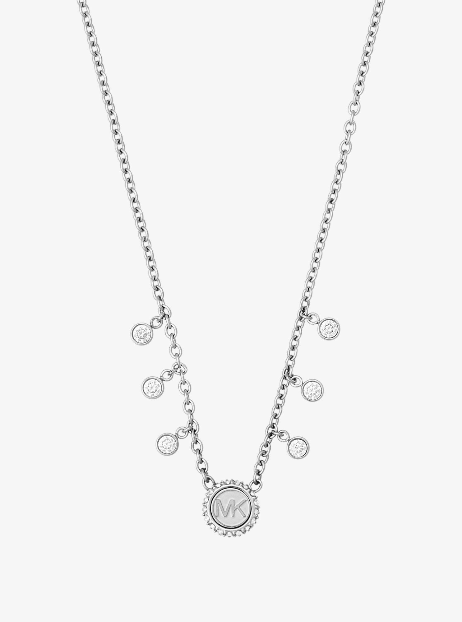 Michael Kors Crystal Silver-tone Logo Necklace