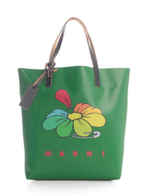 Marni Flowers Printing Shopping Bag In Green