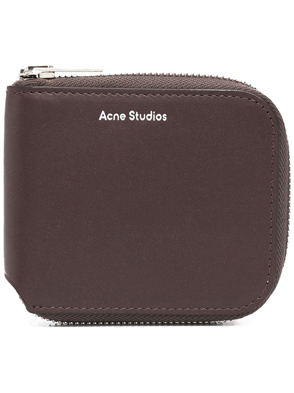 Acne Studios Compact Zipped Leather Wallet In Brown