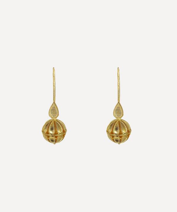 Kojis Silver-gilt Small Decorative Drop Earrings In Gold