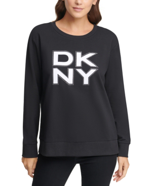 Dkny Stacked Logo Sweatshirt In Black
