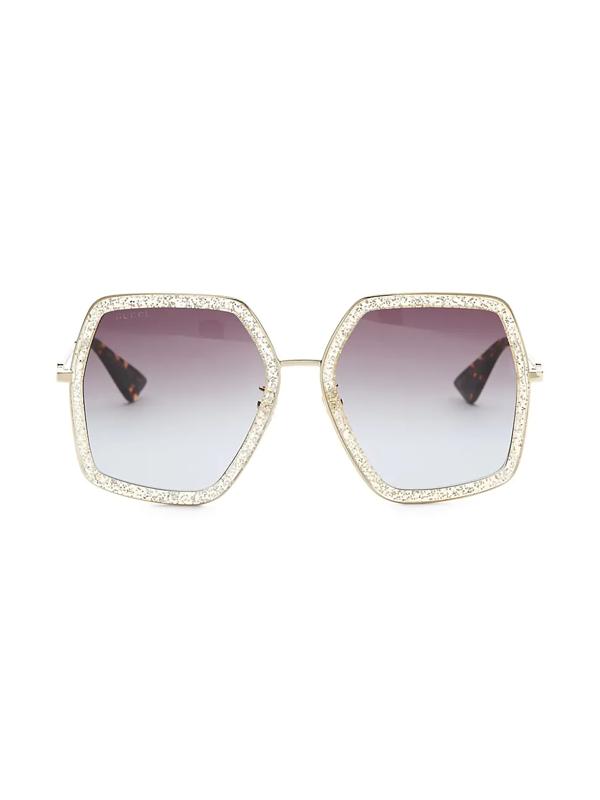Gucci Women's 56mm Geometric Glitter Sunglasses In Gold