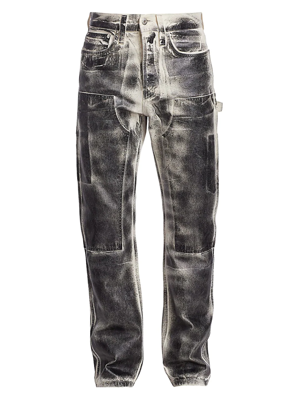 Helmut Lang Men's Utility Washed Straight Leg Jeans In Black Foil
