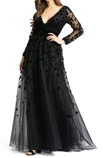 Mac Duggal Velvet Floral Applique Long Sleeve Gown In Black
