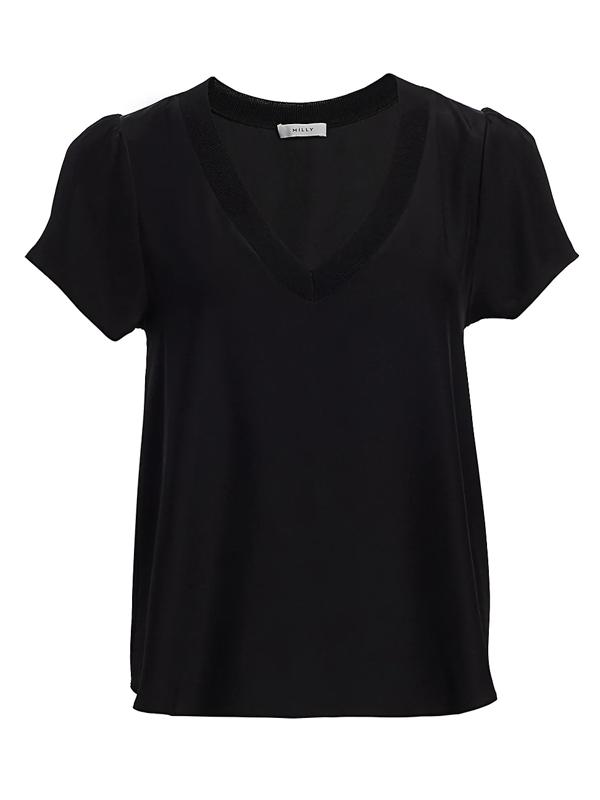 Milly Women's Knit-trim Silk Top In Black