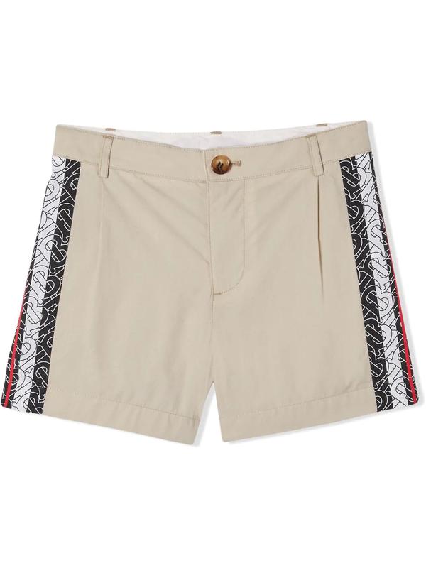Burberry Kids' Monogram Stripe Shorts In Neutrals