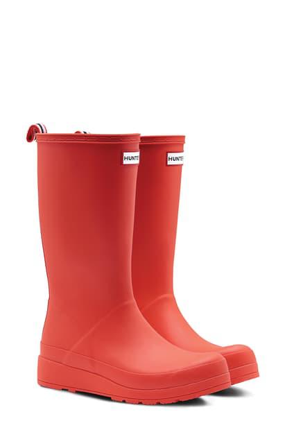 Hunter Original Play Tall Waterproof Rain Boot In Logo Red